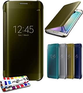 "MUZZANO ""Star Touch 优质原装高级翻盖手机壳适用于三星 Galaxy S6 Edge,优雅耐用减震保护,1支触控笔和1块布CASPERIA ORIGINAL MUZZANO F1584670 Golden"