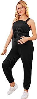 MakeMeChic 女式孕妇连身衣无袖抽绳腰部连身衣