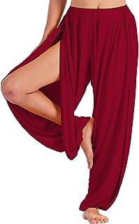 LOFBAZ 女式高开叉瑜伽哈伦裤舞蹈睡衣休闲孕妇长裤