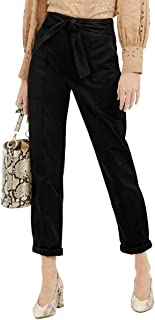 INC International Concepts 女式系带腰带实用裤,深黑色,14