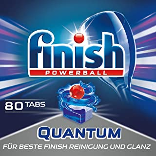 Finish Quantum 洗碗机用餐具洗涤块 不含磷酸盐 带有Power Gel,让餐具闪亮洁净,经济装80片