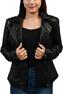 女式皮革夹克 - 真正的Lambskin 女士皮夹克 黑色