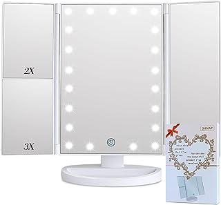 SHNAP 化妆 21 LED 化妆镜,带灯光和触摸屏,三折 2X/3X 放大,双电源,180° 旋转,便携式三折化妆镜,带礼品盒