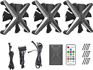 INTER-TECH AC Alseye X12 Kit Grey - RGB 风扇套装由 DREI 120 毫米 RGB 通风孔组成 X 形无框
