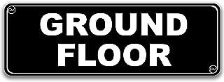 适用于门的地板标牌,亚克力塑料,黑色和白色,圆角,经久耐用,背面双面胶带 - 7.62 厘米 x 22.86 厘米(地面)