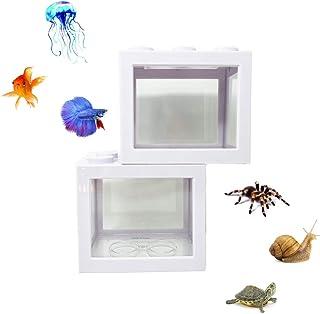 2 件装入门水族馆,适合成人,小型积木鱼缸,适用于贝塔鱼乌龟爬行动物昆虫水母金鱼青苔球蜗牛,桌面装饰(白色)