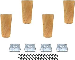 家具腿 Karcy 木制腿 适用于家具沙发腿 4 件套家具脚桌椅腿 3.8 英寸(约 9.8 厘米)锥形带安装硬件