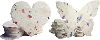 Seed Bloom 手工绽放和种植种子纸野花种子嵌入式再生种子纸礼品标签礼品卡文具和礼品包装用品(爱心和蝴蝶 48 件套)