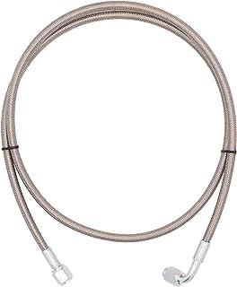 4AN 90 度直软管端压力不锈钢远程涡轮增压器 Senso 钢编织涡轮油进水线 48 英寸长