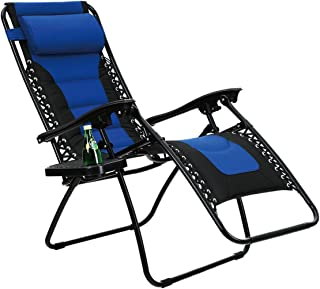 PHI VILLA 加垫零重力休闲椅露台可调节斜倚带户外庭院门廊杯座 蓝色 unknown