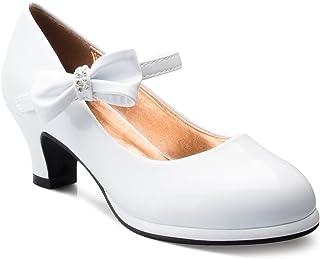 Olivia K 女童蝴蝶结玛丽珍小猫高跟鞋(幼儿/女孩) 白色漆皮 1 Big Kid