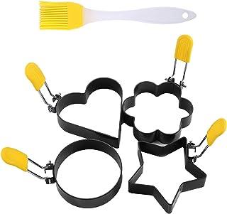 Silverora 4 件套不粘蛋环煎饼煎饼煎饼模具 蛋糕烘焙模具 食品级不锈钢烹饪工具 带防烫手柄和防粘锅油刷