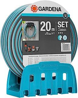 GARDENA 壁挂式软管支架带软管:套装含 20 米软管、喷雾喷嘴和支架;软管耐压,保持其形状,可与所有 GARDENA 单元 (18005-20) 结合使用