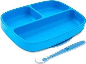 Silikong 幼儿吸盘 + 硅胶勺   不含双酚 A   适用于微波炉、洗碗机和烤箱   适合儿童和婴儿的独立婴儿喂食碗和餐具(蓝色)