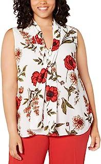 Bar III 女式象牙色花卉无袖系带领衬衫上班上衣加大码 3X - 象牙色/红色多色