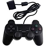 PS2 有线控制器,双减震双振动双减震游戏手柄,适用于 Sony 索尼 Playstation 2,黑色