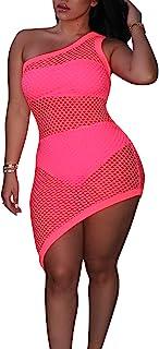 3 件套女式泳衣 – 单肩钩针罩 Ups 沙滩比基尼透视性感泳装迷你连衣裙