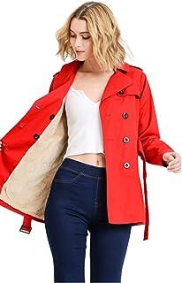Khanomak 女式毛皮厚羊毛风衣夹克冬季外套