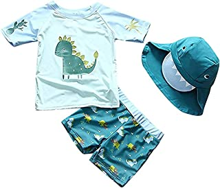 婴儿幼儿男孩两件套泳装恐龙鲨鱼泳衣*衣带帽子 UPF 50+