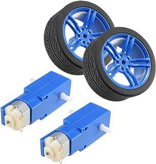 uxcell 2 件直流电动机 3-6V 双轴齿轮 TT 磁性齿轮箱引擎 2 件玩具汽车轮胎,迷你智能遥控汽车机器人轮胎