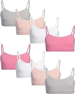 Danskin 女童训练文胸 - 无缝无衬垫 Cami 运动内衣(8 件装)