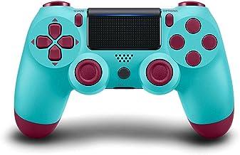 PS4 控制器无线蓝牙游戏手柄,[*版] 触摸面板游戏手柄 USB 线,带双重振动和音频功能防滑手柄,适用于 Sony 索尼 Playstation 4/Pro/Slim/PC (莓蓝色)
