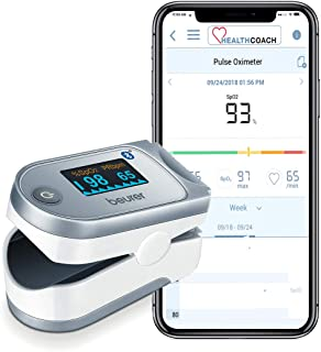 Beurer 蓝牙数字指尖脉冲血氧计,血氧饱和度和脉冲率监测器带配件,po60
