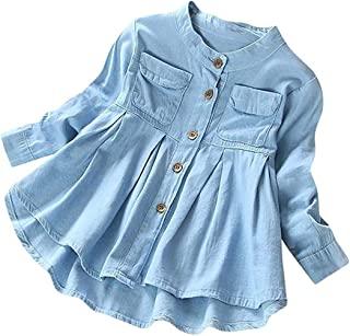 女婴儿童纽扣褶饰长袖口袋 T 恤上衣服装儿童秋冬时尚衬衫