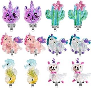 6 对彩色独角兽夹式耳环女孩公主珠宝耳环羊驼夹式耳环