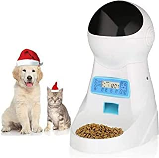 amzdeal 自动猫喂食器 宠物喂食器 猫粮分配器 4 餐 一天 带计时器 可编程分配控制语音记录器 3 升容量 适合猫和狗