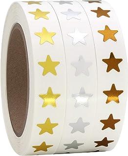 3/8 英寸(约 1.9 厘米)金属金、银色和青铜星星形状铝箔贴纸标签,3000 个标签,每卷 1000 个标签,3 卷。375 英寸(约 9.1 厘米)