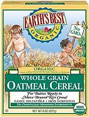 Earth's Best 婴儿麦片, 全麦燕麦片,8盎司盒装(1