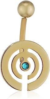 Pure Grey 中性香蕉叉德国制造肚脐穿孔钛锆石蓝色明亮切割 - 珠宝Eternitybells 12 ZRN BZ
