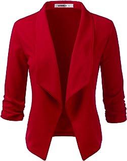 Doublju 女式休闲工作褶饰七分袖前开襟西装外套加大尺码 Cwobl03_red Medium