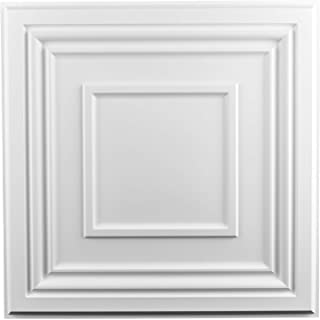 Art3d 装饰吊顶瓷砖 2x2 12 件装,粘贴天花板面板方形浮雕,哑光白色
