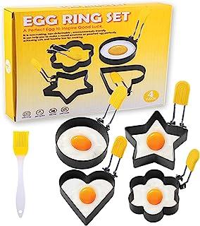 不粘鸡蛋环,用于煎蛋,4 件套鸡蛋烹饪环煎饼模具烘焙固定模具带防烫可折叠手柄