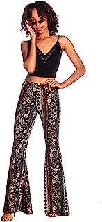 SWEETKIE 波西米亚喇叭裤,弹性腰围,女式阔腿裤,纯色和印花,弹性柔软 黑 Blue Rust 10020 Small