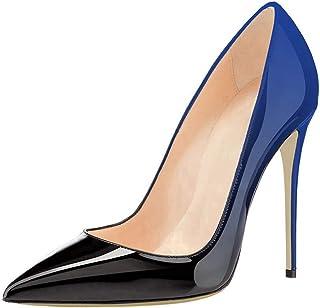 COLETER 女士尖头高跟鞋,*渐变动物印花高跟鞋休闲时装鞋