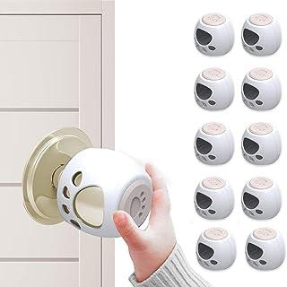 Jakuva 10 件装门把手*罩,儿童防护门把手锁,可锁定设计,适合大多数儿童*(白色)