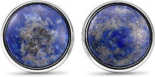 THREE KEYS JEWELRY 自然蓝色青金石镶嵌男式袖扣复古手工婚礼袖扣男式女式商务衬衫