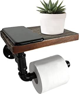 Kunzye 工业卫生纸架 带质朴木架 壁挂式管 厕所 卷架 卫生间卫生间卫生间纸巾架 卫生间浴室