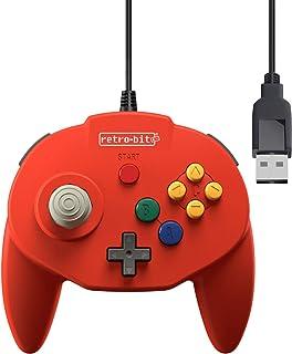 Retro-Bit Tribute 64 USB 控制器,适用于电脑、任天堂开关、Mac、蒸汽、复古派对 Raspberry Pi - USB 端口 - (红色)