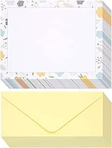 文具纸 - 48 包花卉主题印花纸,带信封打印机和书写 - 信头 - 21.59 x 27.94 厘米信纸尺寸纸张,带 10.16 x 23.9 厘米信封