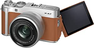 Fujifilm 富士 X-A7 无反光数码相机,带 XC15-45mmF3.5-5.6 镜头X-A7 Kit - Camel 棕色