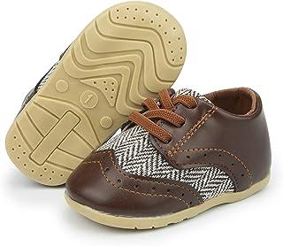 ohsofy 男婴牛津鞋 PU 皮乐福鞋橡胶软底婚礼礼服鞋幼儿女孩婴儿步行鞋