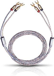 Oehlbach Twin Mix One 200 – 扬声器电缆套装 镀银 2 × 3.0 平方毫米,带电缆接头,德国制造 – 2 × 2 米 – 透明