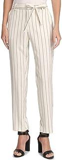 DKNY 女式 象牙白细条纹高腰裤 尺码 12