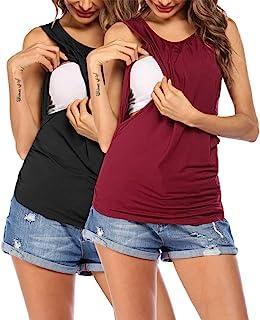 VOOMALL 女式孕妇背心哺乳衬衫舒适无袖孕妇上衣 S-XXL 码