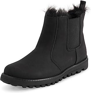 Polar 女士*海绵切尔西绒面革靴防水橡胶滚边缝合外底人造毛皮内衬