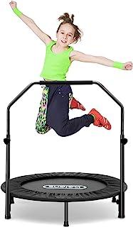 beiens 101.6 厘米迷你蹦床,可折叠反弹器,带可调节泡沫手柄和*垫,室内户外锻炼蹦床,适用于成人儿童身体健身训练锻炼,*大负载 250 磅